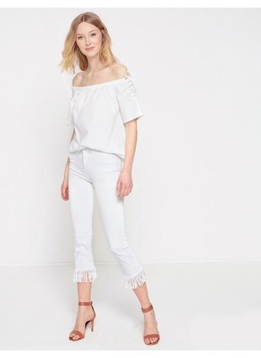 Koton Fahriye Evcen For Koton Jeans Pantolon Beyaz